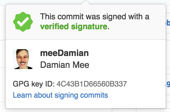 Signed commit tooltip