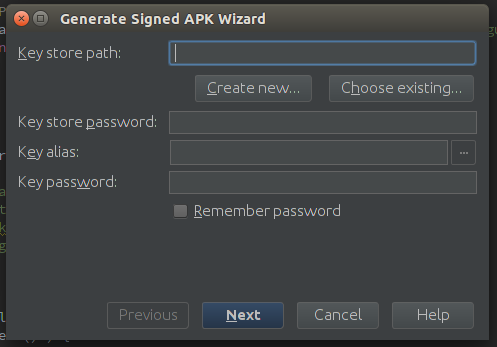 Android Studio generate wizard